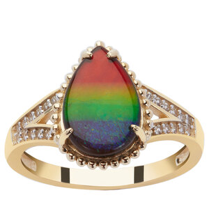 AA Ammolite Ring with White Zircon in 9K Gold (12x8mm)