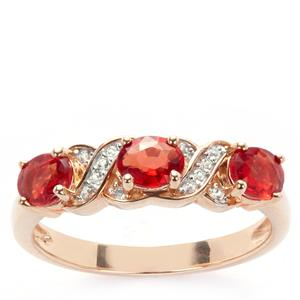 Winza Ruby Ring with White Zircon in 9K Gold 1.32cts