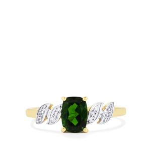 Chrome Diopside & White Zircon 9K Gold Ring ATGW 0.96cts