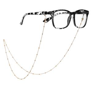 """30"""" Gold Tone Sterling Silver Ball Glasses Chain 2.57g"""