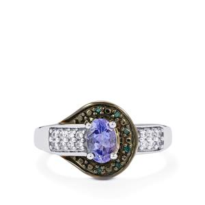 Tanzanite, White Zircon Ring with Blue Diamond in Sterling Silver 0.82ct