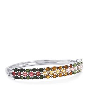 12.52ct Rainbow Tourmaline Sterling Silver Oval Bangle
