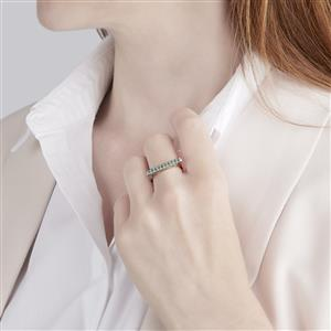 Zambian Emerald Bridge Mini Stacking Ring in Sterling Silver 0.27ct