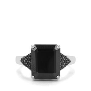 6.72ct Black Spinel Sterling Silver Ring