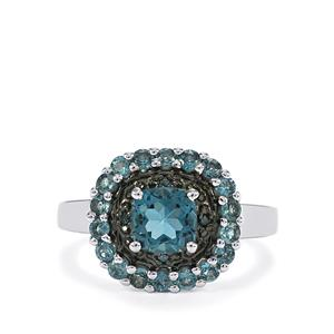 Marambaia London Blue Topaz Ring with Blue Diamond in Sterling Silver 1.89cts