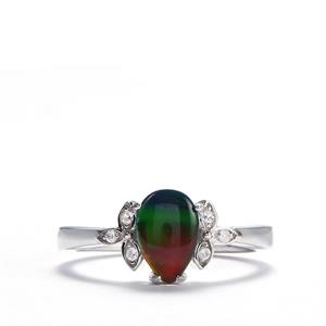 AA Ammolite & White Zircon Sterling Silver Ring (9mm x 6mm)