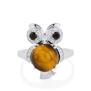 Tiger's Eye, Black Spinel Ring with White Zircon in Sterling Silver 4.24cts
