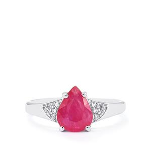 Mozambique Ruby Ring with White Zircon in 10K White Gold 1.76cts