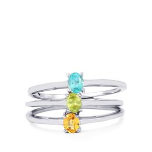 Ambilobe Sphene, Yellow Sapphire Set of 3 Rings with Madagascan Blue Apatite in Sterling Silver 0.61ct