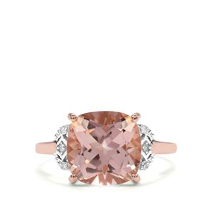 Galileia Topaz Ring with Diamond in 10K Rose Gold 5.43cts