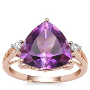 Moroccan Amethyst Ring with White Zircon in 9K Rose Gold 5cts