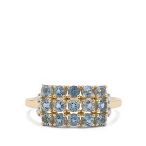 Nigerian Aquamarine & Diamond 9K Gold Ring ATGW 0.97ct
