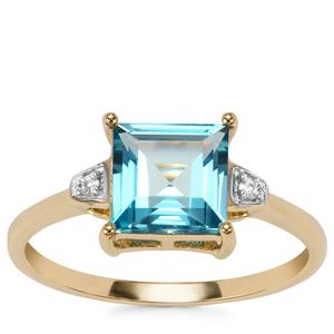 Swiss Blue Topaz Ring with White Zircon in 9K Gold 1.94cts