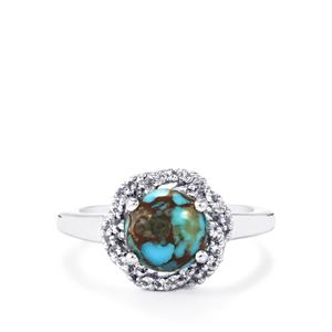 Egyptian Turquoise Ring with White Topaz in Sterling Silver 2.39cts