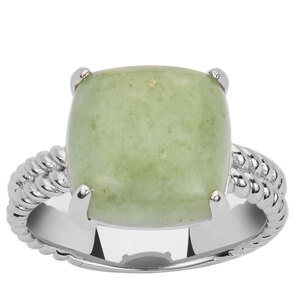 Moss-in-Snow Jade Ring in Sterling Silver 9.42cts
