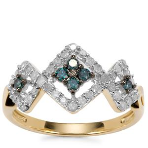 Blue Diamond Ring with White Diamond in 10k Gold 0.52ct