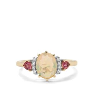 Ethiopian Opal, Oyo Pink Tourmaline Ring with White Zircon in 9K Gold 1.38cts