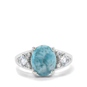 Larimar, Blue Topaz & White Zircon Sterling Silver Ring ATGW 4.28cts