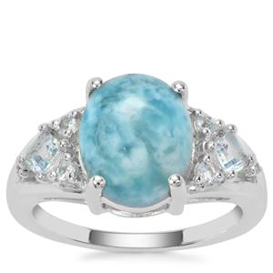 Larimar, Blue Topaz Ring with White Zircon in Sterling Silver 4.28cts