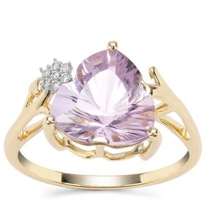 Lehrer Infinity Cut Rose De France Amethyst Ring with Diamond in 9K Gold 3.17cts