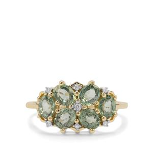 Green Sapphire Ring with Diamond in 9K Gold 1.97cts