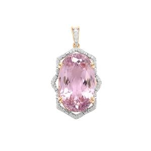 Mawi Kunzite Pendant with Diamond in 18K Gold 25.54cts