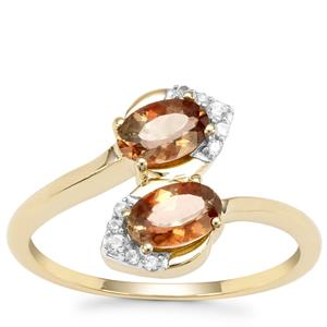 Sopa Andalusite Ring with White Zircon in 9K Gold 0.97ct