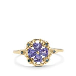 AA Tanzanite Ring with Blue Diamond in 9K Gold 0.59ct