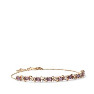 Mahenge Purple Spinel Bracelet with Diamond in 10K Gold 2.41cts