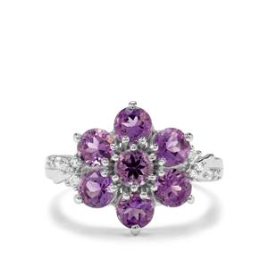 Moroccan Amethyst & White Zircon Sterling Silver Ring ATGW 2.34cts
