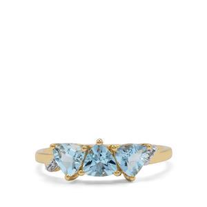 Santa Maria Aquamarine & White Zircon 9K Gold Ring ATGW 1.05cts