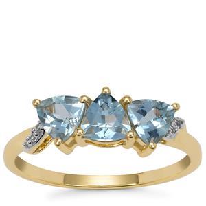 Santa Maria Aquamarine Ring with White Zircon in 9K Gold 1.05cts
