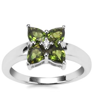 Chrome Tourmaline Ring with White Topaz in Sterling Silver 1cts