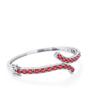 8.59ct Madagascan Ruby Sterling Silver Oval Bangle (F)