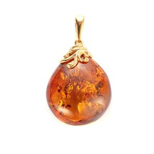 Baltic Cognac Amber Pendant in Gold Plated Sterling Silver (30 x 24mm)