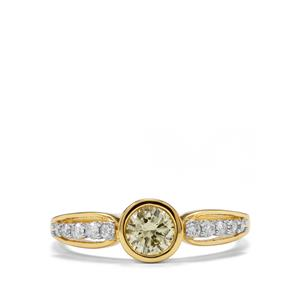 Natural Coloured Diamond Ring with White Diamond in 18K Gold 0.54ct