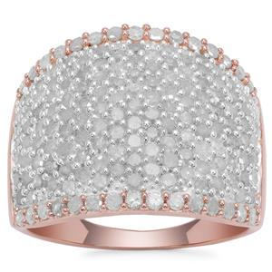 Diamond Ring in Rose Gold Plated Sterling Silver 2cts