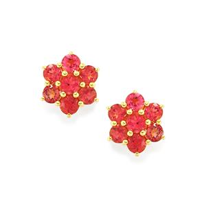 1.49ct Cruzeiro Rubellite 10K Gold Earrings