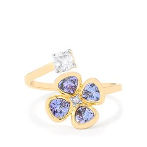 AA Tanzanite & White Zircon 9K Gold Ring ATGW 1.39cts