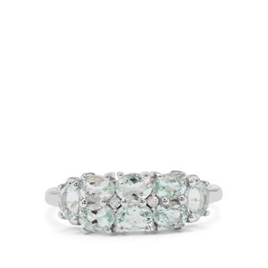 Sokoto Aquamarine Ring with Diamond in 9K White Gold 1.27cts