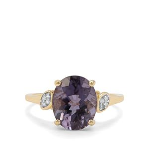 Blueberry Quartz & Diamond 9K Gold Ring ATGW 3.43cts
