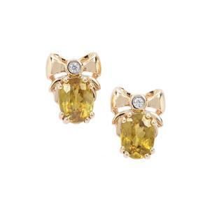 Ambilobe Sphene & White Zircon 9K Gold Earrings ATGW 1.90cts
