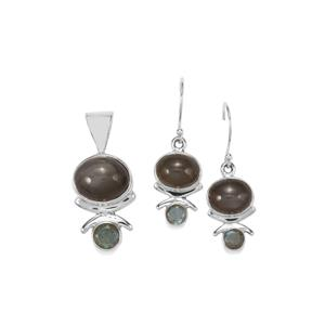 Nova Moonstone Set of Pendant and Earrings with Labradorite in Sterling Silver 14.25cts