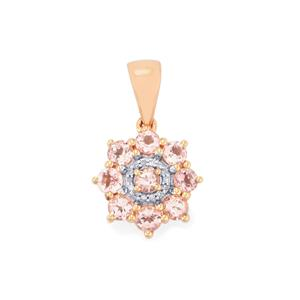 Mozambique Pink Spinel & Diamond 9K Rose Gold Pendant ATGW 1.14cts