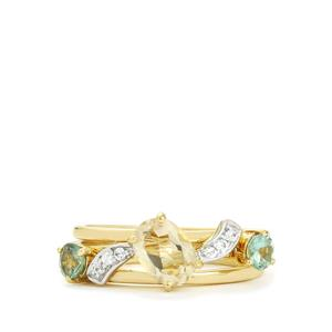 Serenite, Orissa Alexandrite Set of 3 Stacker Rings with White Zircon in 9K Gold 1.29cts