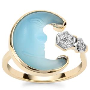 Lehrer Man in the Moon Blue Chalcedony Ring with Diamond in 10K Gold 3.55cts