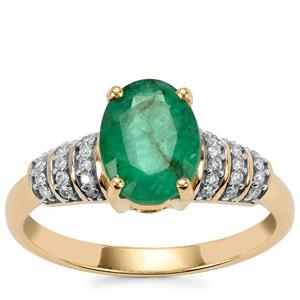 Minas Gerais Emerald Ring with Diamond in 18K Gold 1.77cts