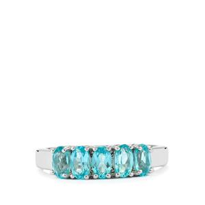 1.29ct Madagascan Blue Apatite Sterling Silver Ring