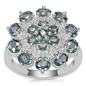 Natural Umba Sapphire Ring with White Zircon in Sterling Silver 4.03cts