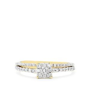 Diamond set of 2 Stacker Rings in 10k Gold 1/2ct